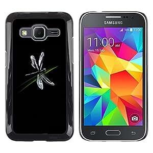 Paccase / Dura PC Caso Funda Carcasa de Protección para - Dragonfly Bug Art Grass Black Simple Flying - Samsung Galaxy Core Prime SM-G360