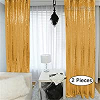 QueenDream photography backdrop 2 Pieces 2ftx7ft gold sequin backdrop photo background backdrop sequin backdrop for Halloween decoration