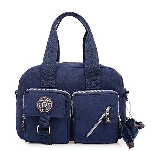Oscuro Mujer hombro para Negro de de Impermeable Azul grandes bolsillos Bolso Nylon con Bolsa gZwOqCq
