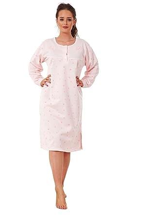 ... Ladies Fleece Nightwear Floral Print Long Sleeve Winter Thermal Nightie  M to 2XL Amazon.co ... 367379a82