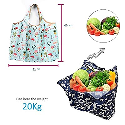 leecoo Reusable Grocery Bags , cute Grocery Tote Foldable into Attached Pouch, Polyester Reusable Shopping Bags, Washable, Durable and Lightweight (cat Blue)