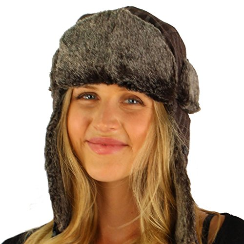 Pinstripe Wool Faux Fur Trooper Ski Hat Cap M/L - Pinstripe Wool Hat