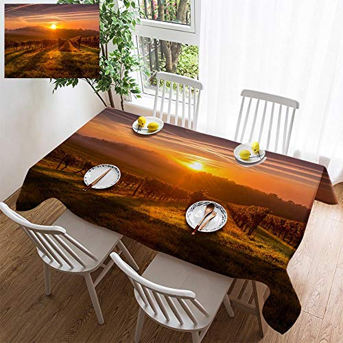 HOOMORE Simple Color Cotton Linen Tablecloth,Washable, Beautiful Sunset Landscape Bordeaux wineyard France Decorating Restaurant - Kitchen School Coffee Shop Rectangular ()