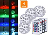 Browill [4 Pack Submersible LED Lights, 10 RGB LEDs 16 Colors Waterproof Underwater Lights with 4 Remote Control for Aquarium Vase Base Pond Pool Garden Home Party Wedding Christmas Decoration