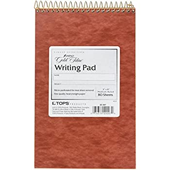 Ampad Gold Fibre Retro Writing Pad, Red Cover, Ivory Paper, 5 x 8, Medium Rule, 80 Sheets, 1 Each (20-007)