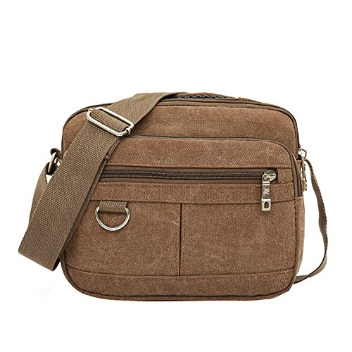 Shoulder Messenger Widewing Multi Fashion Casual Canvas Crossbody Bag Men Coffee pocket qta8wp