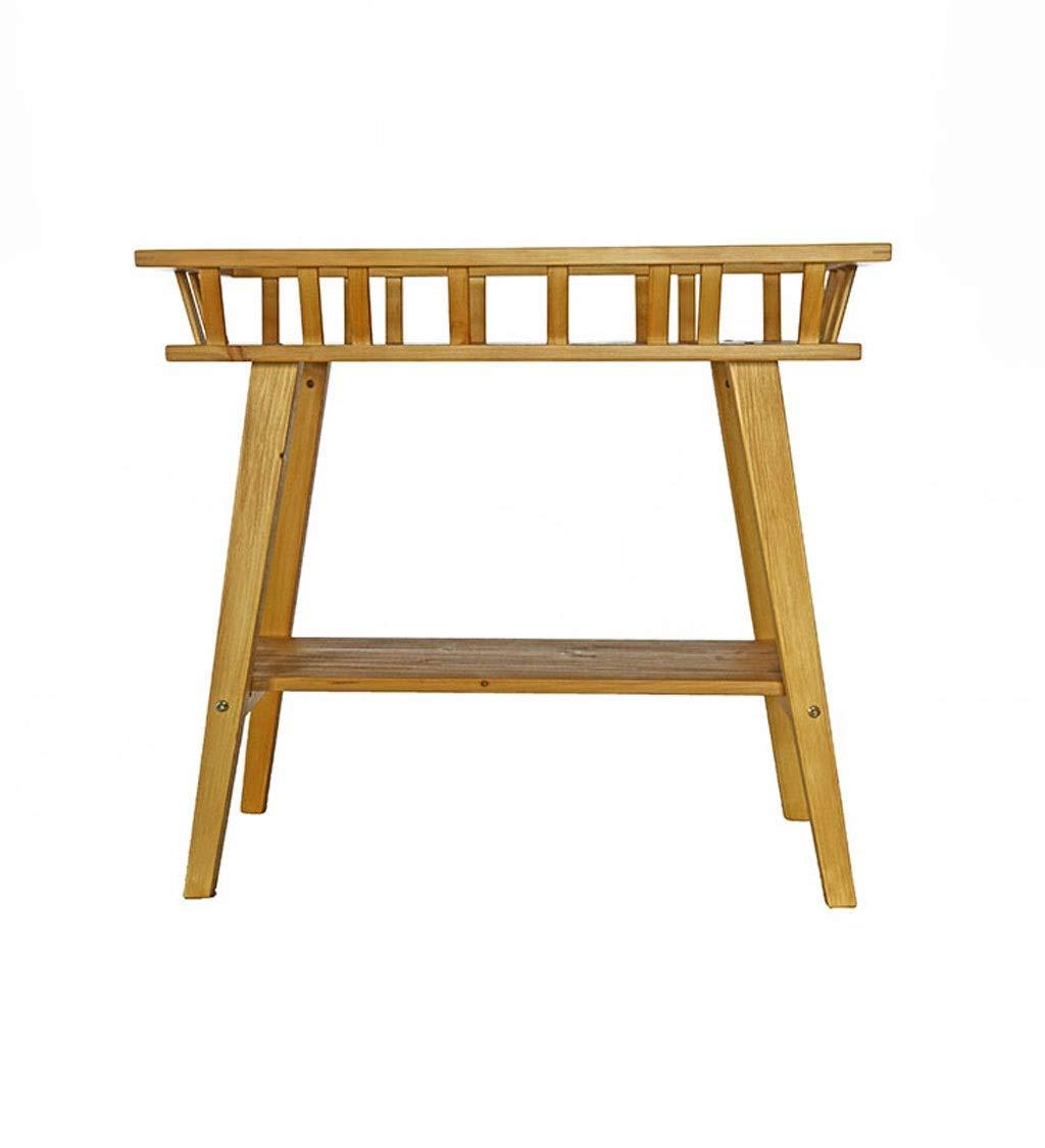 白、ウッドカラー木製フラワーポットディスプレイスタンド、多層フロアフラワーボックスアート装飾、テラス、ポーチ、バルコニー、庭に適して (色 : ウッドカラー) B07RY9WKBL ウッドカラー