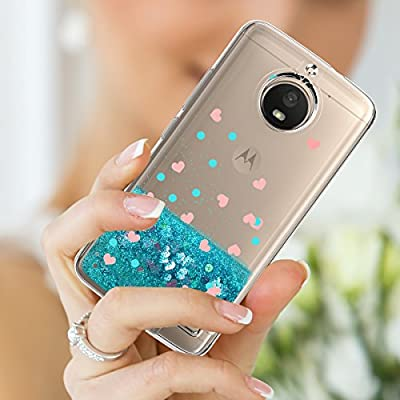 Moto E4 Case With HD Screen Protector For girls,Slook[Heart Series] Liquid Glitter TPU Soft Shockproof Phone Cover Sparkly Bling Protective for Motorola Moto E4 / Moto E (4th Generation) by Slook