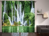 Cheap Ambesonne Waterfall Decor Collection, Moss Greenery Reflection on River Landmark in Bosnia and Herzegovina Picture, Window Treatments, Living Room Curtain 2 Panels Set, 108 X 90 Inches, Green White
