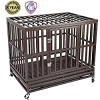 Gelinzon Heavy Duty Metal Dog Cage Kennel Crate and Playpen for Training Large Dog Indoor Outdoor with Door & Locks Design Included Lockable Wheels Removable Tray, 46