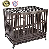 Gelinzon Heavy Duty Metal Dog Cage Kennel Crate and Playpen for Training Large Dog Indoor Outdoor with Door & Locks Design Included Lockable Wheels Removable Tray, 46''