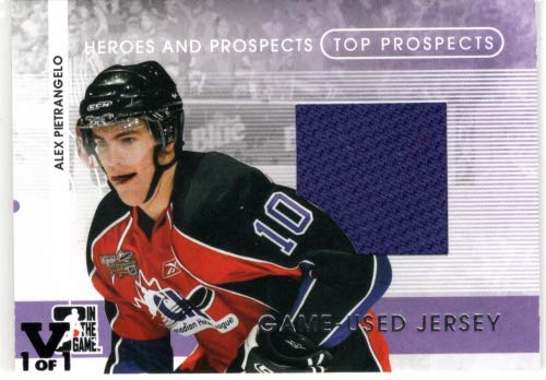 - 2008-09 ITG Heroes and Prospects Top Prospects Jerseys #TPJ12 Alex Pietrangelo From the Vault Version Game-Worn Jersey Card #1/1