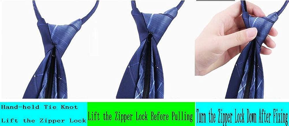 MENDENG Zipper Ties for Men Zip Necktie Woven Silk Pre-tied Neck Tie Comfortable