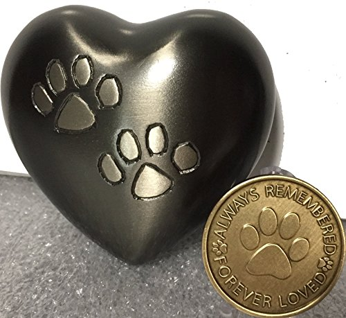 Double-Paw-Print-Heart-Shaped-3-Pet-Keepsake-Urn-And-Always-Remembered-Forever-Loved-Memorial-Dog-Medallion
