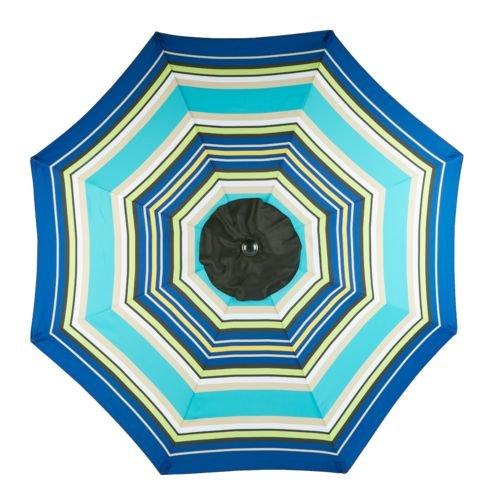 - Mosaic 9 Ft Outdoor Patio Round Steel Market Beach Umbrella (Blue/Green Stripe)