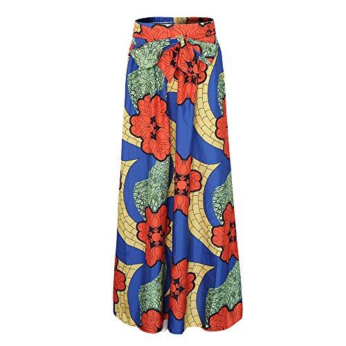 con ampia donna da gonna Blu con stampa Maxi africana sexy lunga tasca deluxe IqwPCUgf