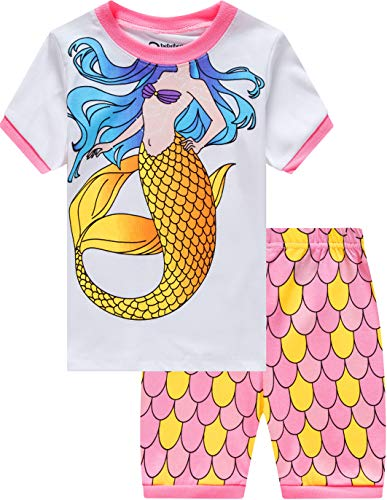 Childrens Set - Mermaid Pajamas for Girls Summer Baby Clothes Kid Children Cartoon PJs Short Set Sleepwear 7t