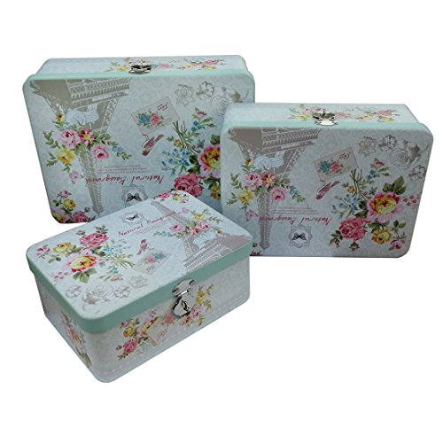 3pcs Metal Cans Tins Box Containers with Lock for Keepsake Jewelry Cookies Candy Storage Kit Decorative Home Organizer (Natural Background) -