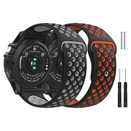 MoKo Watch Band Compatible with Garmin Fenix 3, [2PACK] Soft Silicone Replacement Watch Band Fit Garmin Fenix 3/Fenix 3 HR/D2 Delta PX Smart Watch - Black Gray & Black Red