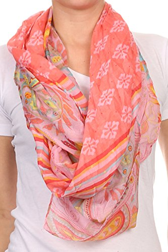 LL Pretty Pink Large Paisley Scarf for Women Shrug Fall Spring Summer Fashion