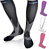 Compression Socks Blitzu Men and Women Performance Sport Running Socks. Graduated leg Support. Improves Circulation, Recovery. Relief for Shin Splints, Calf & Leg Pain, Plantar Fasciitis. Black L/XL