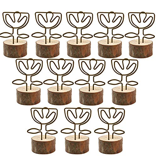 Amytalk Wooden Base Place Card Holder, 12 Sets Real Wood Base Table Holder with Flower Iron Metal Wire Shape, Table Card, Photo Card, Menu Card, Name Card Holder Memo Clips (Flowers) 12 Flower Name Card