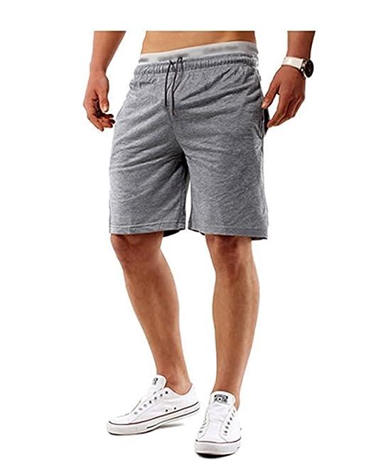 1d06fd3e5ee Minetom Verano Hombre Bermuda Casual Cintura Elástica Bolsillos Pantalones  Cortos Deportivos Shorts Deporte Que Activan  Amazon.es  Ropa y accesorios