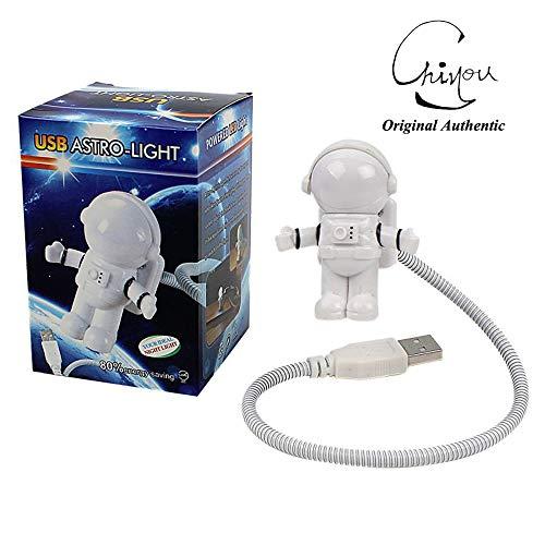 Creative Design Energy Saving Astronaut Spaceman USB LED Night Light Computer Laptop Notebook Lamp Mini Night Light Keyboard Lamp USB Charging Port Design Flexible Bendable Hose Portable for Student O
