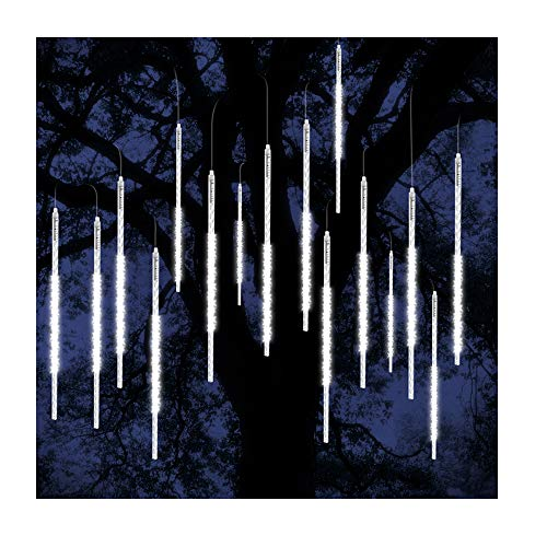 ohCome Meteor Shower Rain Drop Lights 50cm 10 Spiral Tubes 540 LEDs Waterproof Icicle Snowfall String Lights for Wedding Christmas Xmas Halloween Garden Tree Home Decor (White) -