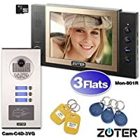 SOTER SECURITY Wired 8 Inch LCD Color Screen Monitor HD Camera Recording Video Door Bell Phone Intercom RFID Card Access Control Home Gate Entry Security Kit for 3 Families Apartment