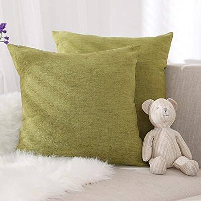 Deconovo Lot de 2 Housse Coussin Exterieur Verte 45x45cm pour Enfant Garcon  pour Salon de Jardin Housse de Coussin en Effet Lin