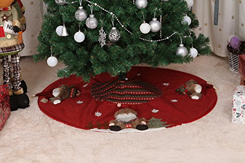 Sea Team 47'' Luxury Collection Cotton Blend & Non-woven Fabric Double-layer Applique Christmas Tree Skirt with Stereoscopic Pop Christmas Elements, Burgundy by Sea Team (Image #8)