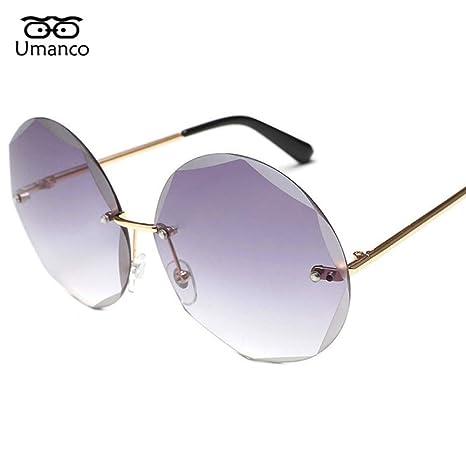 Yangjing-hl Gafas de Sol de Corte Redondo para Mujeres ...