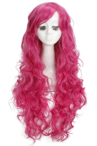 Nuoqi Womens Sweet Magenta Curly Wavy Cosplay Party Hair Wig