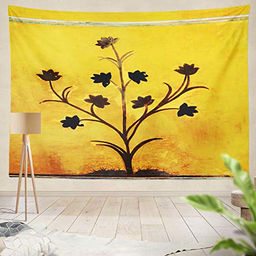 - Summor Tapestry Old Flower Wall India Canvas Indian Ancient Art Artistic Castle Ethnic Flower House India Hanging Tapestries 50 x 60 inch Wall Hanging Decor for Bedroom Livingroom Dorm