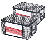 Onlyeasy Foldable Storage Bag Organizers - Breathable Household Home Organizers Bins Duvet Clothes Blankets Comforters Quilts Large Clear Window, 23.6''x17.7''x11.8'', Set of 2 Stripe, 8MXBR60M