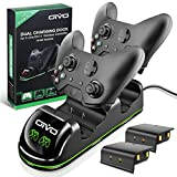 OIVO Xbox One/S/X/Elite Controller Charger, Fast Dual Charging Station Updated LED Strap, Remote Charger Dock - 2 Rechargeable Battery Packs Included