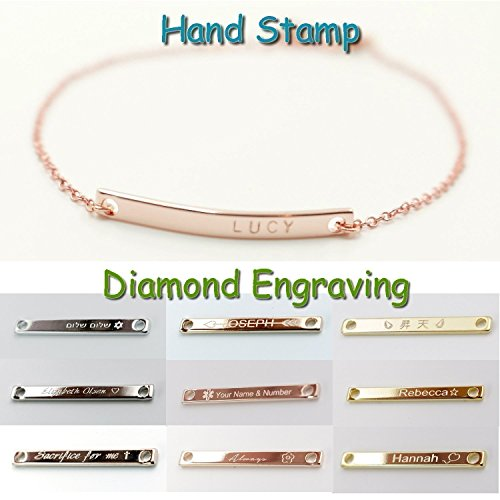 [A Name Bar Bracelet 16K Gold Rose Gold Silver -Plated Plate Charms Hand Stamp or Computer Diamond Engraving bridesmaid Wedding Graduation Birthday] (Indian And Pilgrim Costumes)