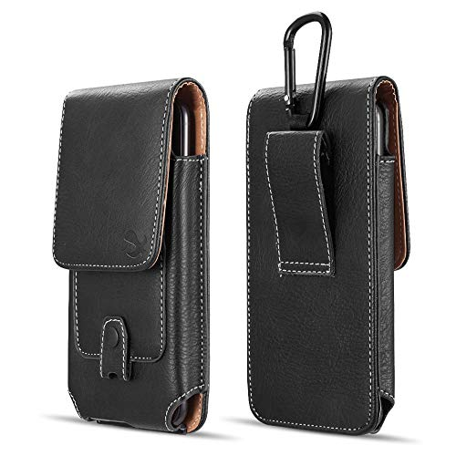 Nokia Carry Case - Luxmo Vertical Series Phone Holder Compatible with Nokia 2V (Verizon) - PU Leather Belt Holster Pouch Case with Inner Card Slots and Atom Cloth - Black