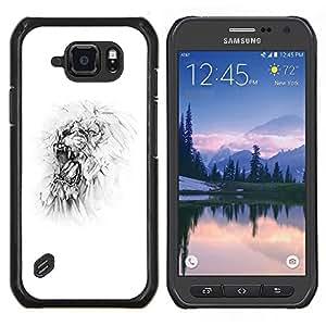 TECHCASE---Cubierta de la caja de protección para la piel dura ** Samsung Galaxy S6 Active G890A ** --Monster blanca minimalista del arte del bosquejo