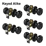 Probrico Keyed Alike Oil Rubbed Bronze Door Knob Lockset Handles Entry with Key Leverset (One Keyway) 5 Pack