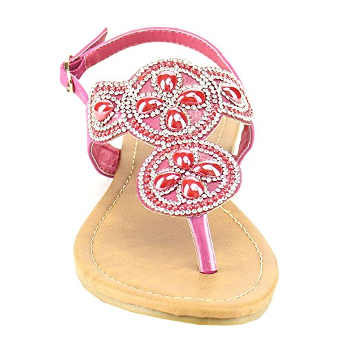 Fashion Focus Eb89 Donna Sparkly Diamonds Sandalo Infradito Perizoma Metà Fucsia