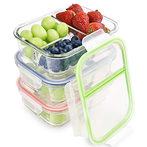 RENPHO Glass Meal Prep Containers 3 Compartment,Bento Box Containers Glass Food Storage Containers with Lids,Food Prep Containers Glass Storage Containers with lids Lunch Containers[3-Pack, 36oz]
