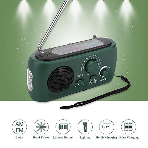 Aramox Hand Crank Self Powered AM/FM Radio Solar Power Emergency NOAA Weather Radio with Power Bank, Emergency Phone Charger, Flashlight by Aramox (Image #1)