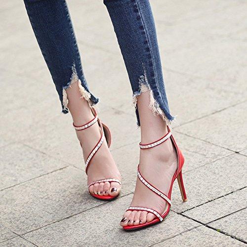 11 Rhinestone Summer Heel ZHIRONG Toe Red UK6 CN39 Black Red Thin High Women's Roman Open 5CM Color Heel Shoes Black Sandals Blue EU39 Size Ep70qwq