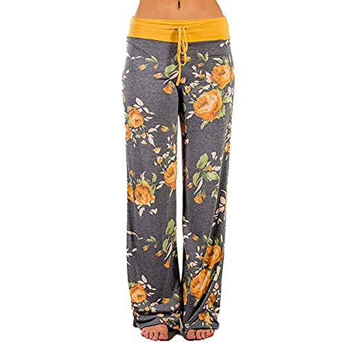 JOFOW Womens Wide Leg Pants Flowers Floral Print High Waist Drawstring Strappy Casual Loose Slim Long Yoga Trousers Pajamas (Gray,S) (M,Gray & Yellow)