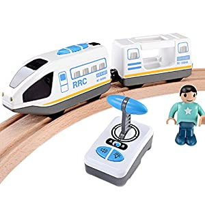 Kerocy Magnetic Electric Train Toys Wooden Railway Track Electric Car Set Gifts for Boys