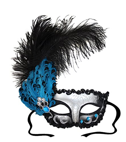 - Daphne Black Silver Teal Feathered Masquerade Mask for Women