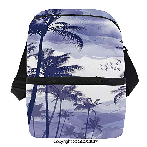SCOCICI Reusable Insulated Grocery Bags Exotic Tropical Tall Palm Trees at Beverly Hills Sunset on Windy Day Abstract Artsy Print De Thermal Cooler Waterproof Zipper Closure Keeps Food Hot Or Cold