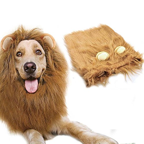 Azorcol Lion Mane Costume Big Dog Lion Mane Wig Hairpiece with Ears (Light (Dog Sweaters Big Dogs)